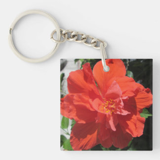 Hibiscus Red Flowering Plant Acrylic Key Chains
