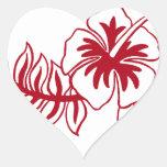 Hibiscus Red Hawaiian Flower Heart Sticker