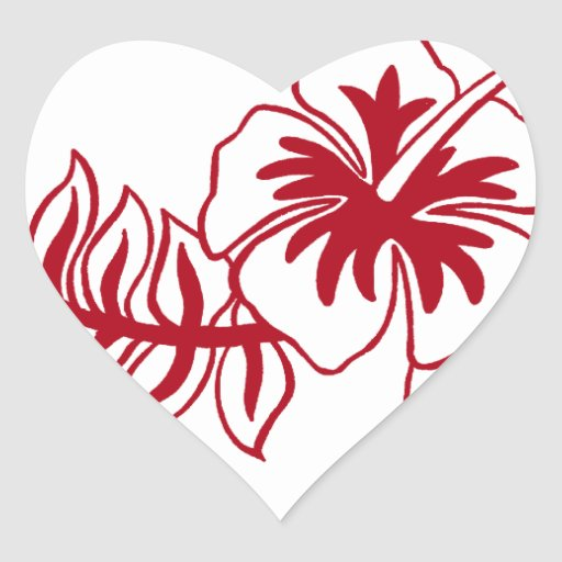 hibiscus red hawaiian flower heart sticker zazzle. Black Bedroom Furniture Sets. Home Design Ideas