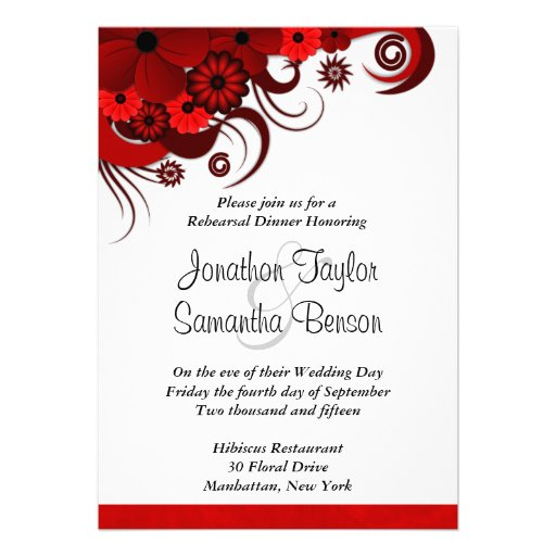 Hibiscus Red Wedding Rehearsal Dinner Invitations