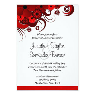 Hibiscus Red Wedding Rehearsal Dinner Invitations Announcement