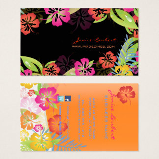 Hibiscus, Retro bold tropical flowers Business Card