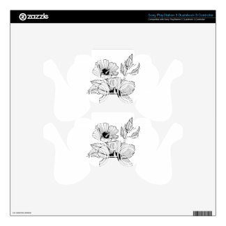 Hibiscus Rose of Sharon Flower Decal For PS3 Controller