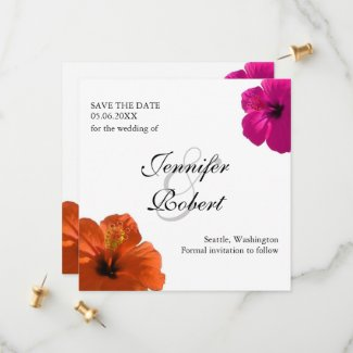 Hibiscus Save the Date Invitation