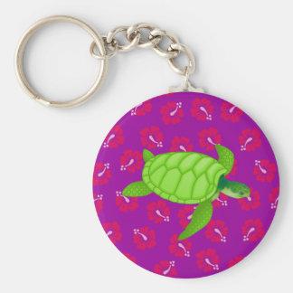 hibiscus-SeaTurtle Customize it! Basic Round Button Keychain
