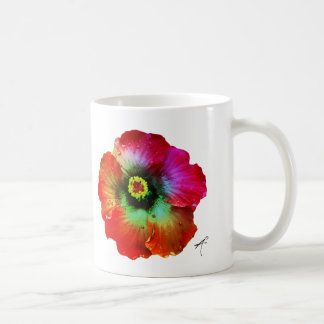 Hibiscus Silhouette Mug, Rainbow