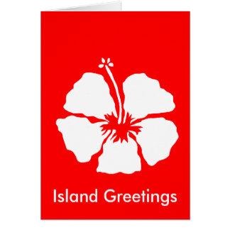 Hibiscus style aloha flower card