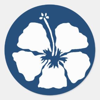 Hibiscus style aloha flower classic round sticker