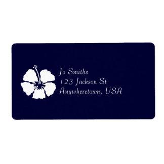 Hibiscus style aloha flower label