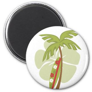 Hibiscus Surfboard 2 Inch Round Magnet