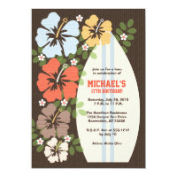 Hibiscus Surfboard Birthday Party Invitations