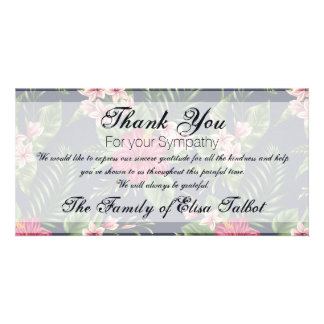 Hibiscus Sympathy Thank you Photo Card