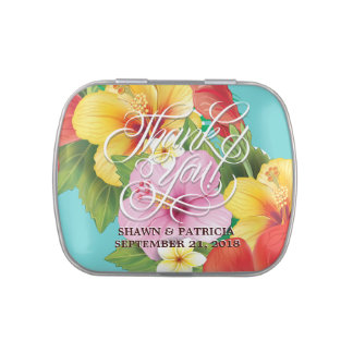 Hibiscus Tropical Beach Wedding Party Souvenirs Jelly Belly Candy Tin