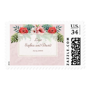 Beach Themed Hibiscus Tropical Bouquet Beach Wedding Postage