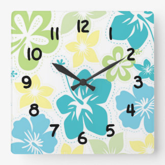 Hibiscus tropical hawaiian flowers floral decor square wall clock