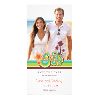 Hibiscus Tropical Waves Beach Save The Date Card