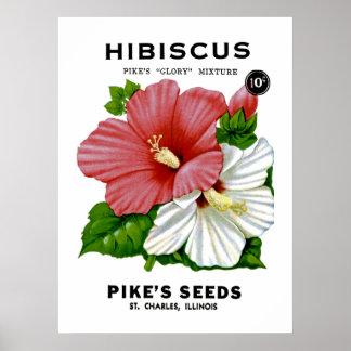 Hibiscus Vintage Seed Packet Poster