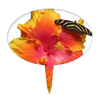 Hibiscus with Zebra Longwing Butterfly Cake Topper