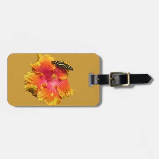 Hibiscus with Zebra Longwing Butterfly Luggage Tag