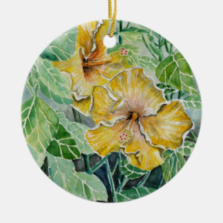 hibiscus yellow flowers ceramic ornament