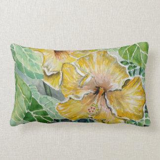hibiscus yellow flowers throw pillow