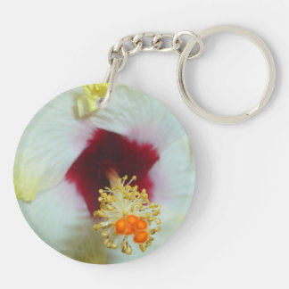 Hibiscus Yellow w Red center Acrylic Keychain