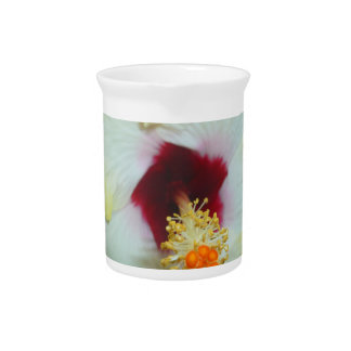 Hibiscus Yellow w Red center Beverage Pitcher