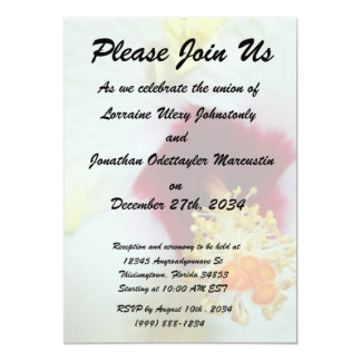 """Hibiscus Yellow w Red center 5"""" X 7"""" Invitation Card"""