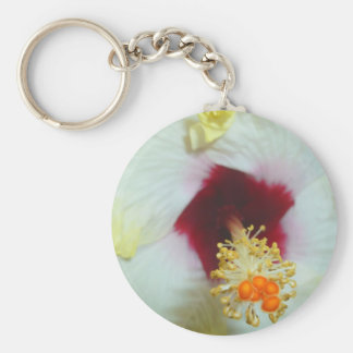 Hibiscus Yellow w Red center Keychains