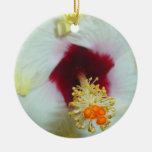 Hibiscus Yellow w Red center Christmas Tree Ornament