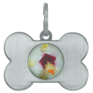 Hibiscus Yellow w Red center Pet Name Tag