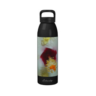 Hibiscus Yellow w Red center Reusable Water Bottle