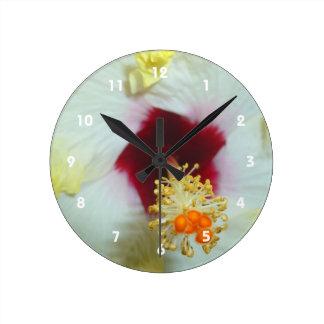 Hibiscus Yellow w Red center Round Clock