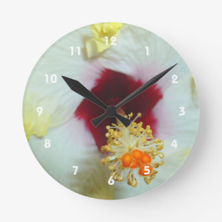 Hibiscus Yellow w Red center Round Wall Clock