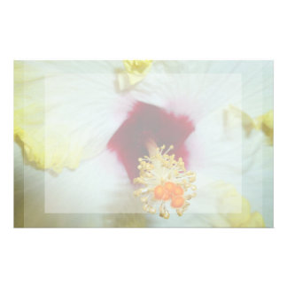 Hibiscus Yellow w Red center Personalized Stationery
