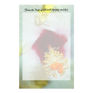 Hibiscus Yellow w Red center Stationery Design