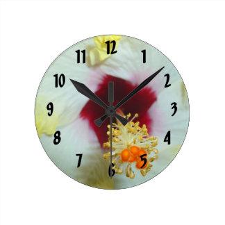 Hibiscus Yellow w Red center Wall Clocks