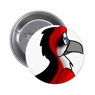 Híbrido rojo/del negro/blanco del pájaro pin redondo de 2 pulgadas