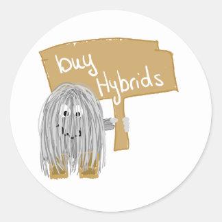 híbridos grises de la compra pegatina redonda