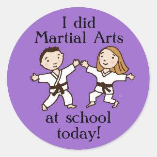 Hice artes marciales en los pegatinas de la escuel pegatinas redondas