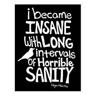 """""""Hice insano…"""" Cita de Edgar Allan Poe Postal"""