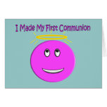 Hice mi primera comunión smiley rosado grande felicitación