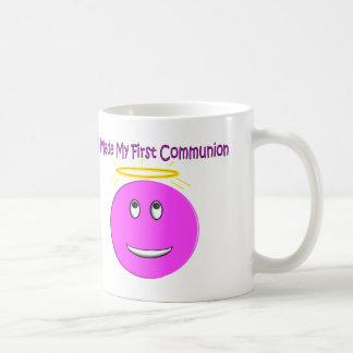 Hice mi primera comunión smiley rosado grande taza