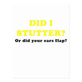 Hice tardamudeo o hice su aleta de los oídos tarjetas postales