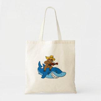 Hick sloth mounted on shark tote bag