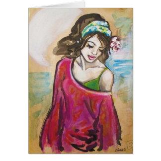 """Hickam Beach Girl"" Art Print Greeting Card"