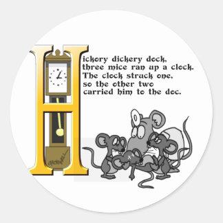 Hickery Dickery Dock Classic Round Sticker
