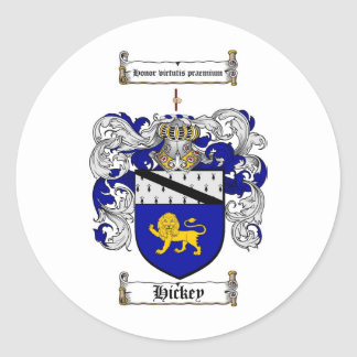 HICKEY FAMILY CREST -  HICKEY COAT OF ARMS CLASSIC ROUND STICKER