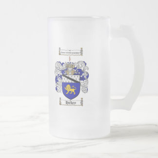 HICKEY FAMILY CREST -  HICKEY COAT OF ARMS FROSTED GLASS BEER MUG
