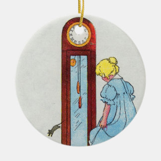 Hickory, dickory, dock! The mouse ran up the clock Double-Sided Ceramic Round Christmas Ornament